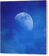 Rising Moon Through Evening Clouds Wood Print