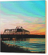 Rising Sun On The Mokelumne River Wood Print