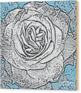 Ritzy Rose With Ink And Blue Background Wood Print