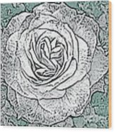 Ritzy Rose With Ink And Green Background Wood Print