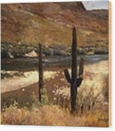 River And Cactus Wood Print