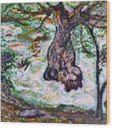 River And Plane Tree Wood Print