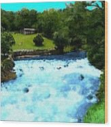 River And Waterfall In France Wood Print
