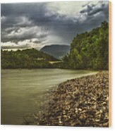 River Below The Clouds Wood Print