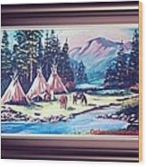 River Camp Wood Print