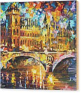 River City - Palette Knife Oil Painting On Canvas By Leonid Afremov Wood Print