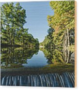 River Falls In The Fall On The Guadalupe River Wood Print
