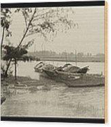River Fishing Boats In Hoi An Wood Print