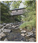 River Gorge Covered Bridge Wood Print by Jim  Wallace