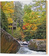 River House In The Fall Wood Print