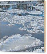 River Ice Wood Print