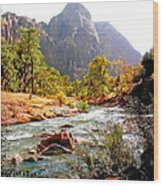 River In Zion National Park Wood Print