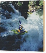 River Kayaking Over Waterfall, Crested Wood Print