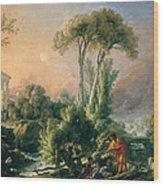 River Landscape With An Antique Temple Wood Print
