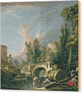 River Landscape With Ruin And Bridge Wood Print