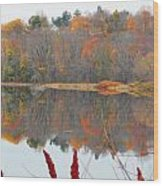 River Mirror Autumn Wood Print