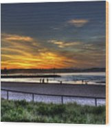 River Mouth At Sunset Wood Print