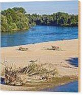 River Of Drava Green Nature Wood Print
