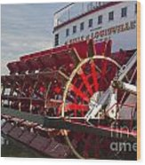 River Paddle Steamer Wood Print