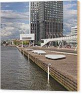 River Promenade In Rotterdam Wood Print