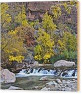 River Rapids In Zion Wood Print