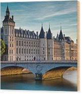 River Seine With Conciergerie Wood Print