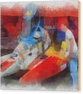 River Speed Boat Number 2 Photo Art Wood Print