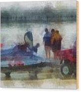 River Speed Boat Photo Art Wood Print