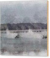 River Speed Boat Racing Photo Art Wood Print