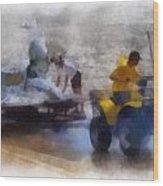 River Speed Boat White Photo Art Wood Print