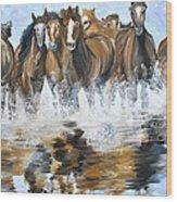 River Stampede Wood Print