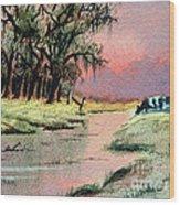 River Sunrise Wood Print