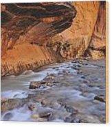 River Through Zion Wood Print