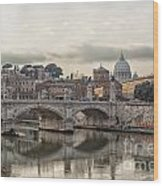 River Tiber In Rome Wood Print