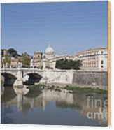 River Tiber With The Vatican. Rome Wood Print by Bernard Jaubert