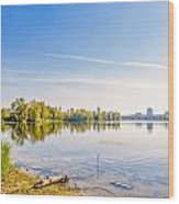 River Trees And City Skyline Wood Print