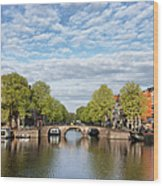 River View Of Amsterdam In The Netherlands Wood Print