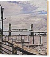 River Walk Wilmington Bridge Wood Print