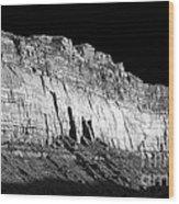 River Wall Bw Wood Print
