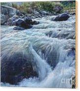 River Water Flowing Through Rocks At Dawn Wood Print