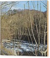 River Waterfall Wood Print