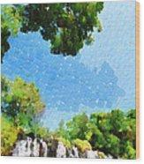 River Waterfall Painting Wood Print