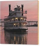 Riverboat At Sunset Wood Print