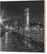 Riverfront Park Clocktower Seahawks Black And White Wood Print