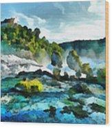 Riverscape Wood Print by Ayse Deniz