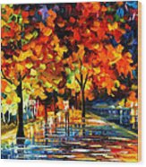 Rivershore Park - Palette Knife Oil Painting On Canvas By Leonid Afremov Wood Print