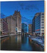 Riverside Blue Hour Wood Print
