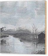 Riverside Scene Wood Print