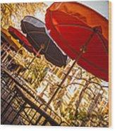 Riverwalk Umbrellas Wood Print