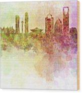 Riyadh Skyline In Watercolour Background  Wood Print